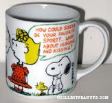 Linus and Sally 'How could soccer be your favorite sport? What about hugging and kissing?' Mug