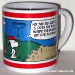 Snoopy standing by sand trap with rake Mug
