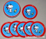 Snoopy and Woodstock dancing in winter clothes Set of 6 Coasters with Tin