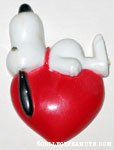 Snoopy laying on top of heart Magnet