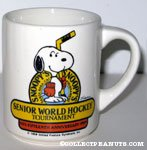 Snoopy Holding Hockey Stick 'Snoopy's 15th Anniversary Senior World Hockey Tournament 1989' Mug