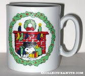 Snoopy & Woodstock next to fireplace Christmas Mug