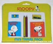 Snoopy mini travel pack with Pencils, Eraser, Pencil Sharpener, Address Book and Schedule Book
