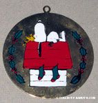 Snoopy & Woodstock on doghouse Painted Ornament