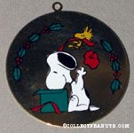 Snoopy & Woodstock opening Christmas gift box Painted Ornament