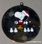 Santa Snoopy & Woodstock with row of snowmen Painted Ornament