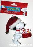 Snoopy holding dogdish of treats Ornament