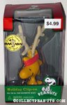Woodstock with reindeer antlers Holiday Clip On Ornament