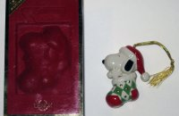Snoopy and Woodstock in Christmas Stocking Ornament