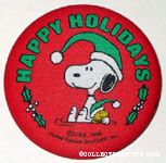 Snoopy & Woodstock wearing stocking caps 'Happy Holidays' Fabric-covered Button