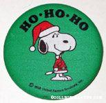 Santa Snoopy 'Ho, Ho, Ho' Fabric-covered Button