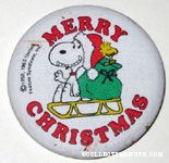 Santa Snoopy and Woodstock on sled 'Merry Christmas' Fabric-covered Button