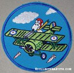 Flying Ace Flying Green bi-plane with bombs falling Patch
