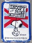 Snoopy holding sign in front of British flag 'Snoopy for Prime Minister' Patch