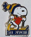 Snoopy skiing 'Ski Apache' Pin