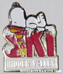 Snoopy laying on word Ski 'Hidden Valley' Pin