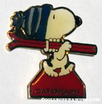Snoopy carrying skis 'Catamount' Pin