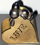 Snoopy laying on heart 'Love' Gold-tone Silver Planter