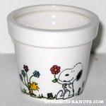 Snoopy & Woodstock holding flowers Flower Pot