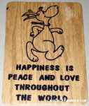 Snoopy wearing love beads 'Happiness is peace & love throughout the world' Wall hanging