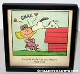 Snoopy kissing Sally 'If you're happy and you know it...' Framed Print