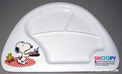 Snoopy & Woodstock carrying food trays Plastic Partitioned Plate