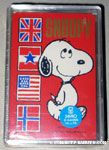 Snoopy walking next to flags Playing Cards