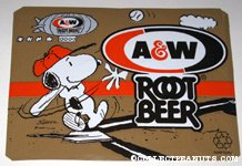 Snoopy playing baseball A&W Root Beer Box Side