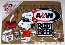 Snoopy Joe Cool grilling A&W Root Beer Box Side