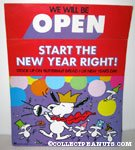 Snoopy and Woodstock Celebrating New's Years Day Store Sign