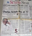 Sunday Star 'Charles Schulz dies at 77' Article