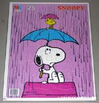 Snoopy & Woodstock in rain under umbrellas Puzzle