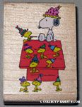 Snoopy and Woodstocks partying at doghouse Rubber Stamp