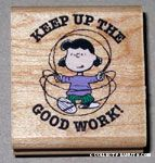 Lucy jumping rope 'Keep up the good work' Rubber Stamp