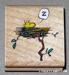 Woodstock in nest Rubber Stamp
