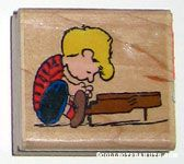 Schroeder at piano Rubber Stamp