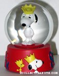 Snoopy wearing crown Snowglobe