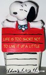 Snoopy in Doghouse box 'Life is too short not to live it up a little' Doll