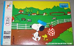 Snoopy with Hobo Pack and Woodstock walking next to farm field Puzzle