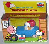 Snoopy in Blue VW Beetle