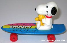 Snoopy and Woodstock sitting on blue skateboard