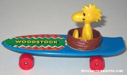 Woodstock in Nest on blue skateboard