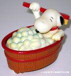 Snoopy in Wooden Tub taking Bath