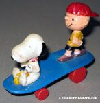 Snoopy & Woodstock sitting and Charlie Brown Standing on blue curved skateboard
