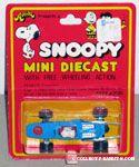 Snoopy driving Blue Racecar