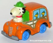 Snoopy driving Woodstock Beaglescouts in Orange Van