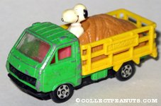 Snoopy riding in back of Hay Truck