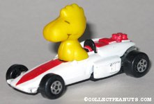 Woodstock in white race car with red stripe
