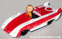 Charlie Brown in Red and White Sportscar