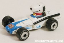 Snoopy in tiny white & blue race car